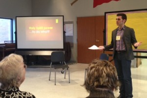 "Pastor Clark, at a synod learning event, leading a workshop on ""The Power of Listening."""