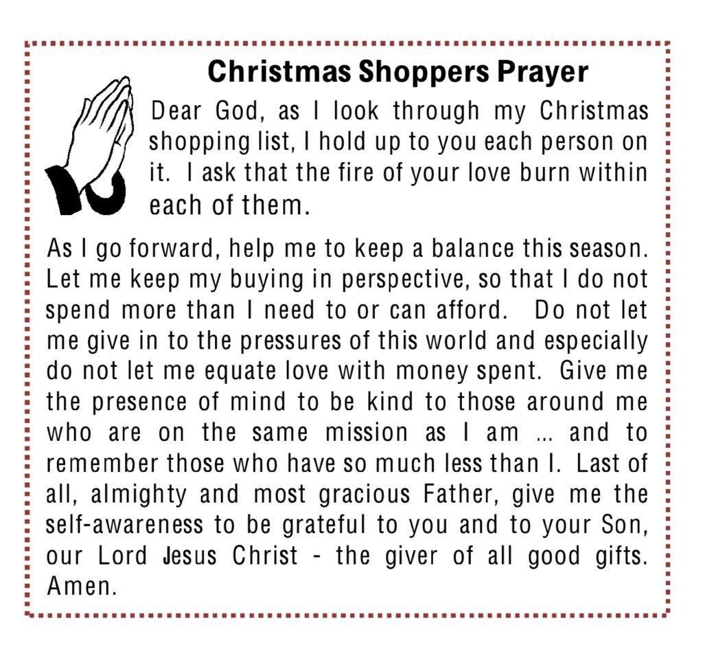 Christmas Shoppers Prayer